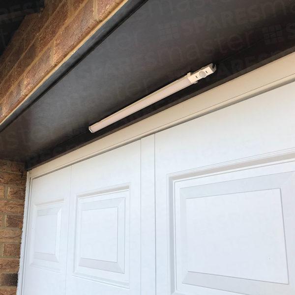 Night Sabre LED security light installed above a garage door